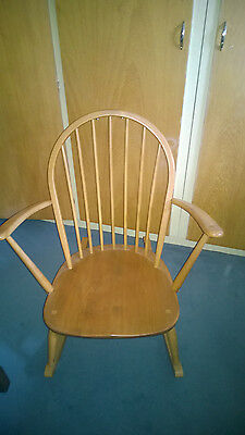 Vintage Ercol Windsor Tub Rocking Chair Blonde Light Elm Mid Century 1960s