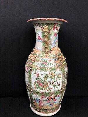 Antique Chinese Famille Rose Medallion Porcelain Vase With Dragons And Foo Dogs