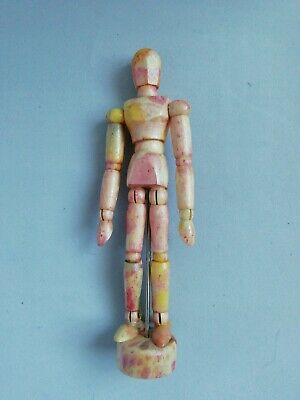 """Custom Wooden Artists Mannequin - Rhubarb and Custard - 6"""" - fully poseable"""
