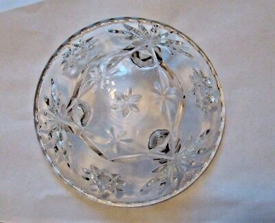 """Vintage Star of David Anchor Hocking Bowl 6 3/4""""  Clear Scalloped Near Mint"""