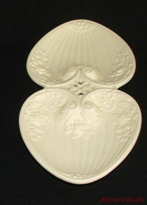 Vtg Rose Floral Heart Shape Nut Candy Tray Ivory Ceramic Relish Dish Portugal