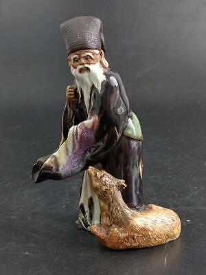 Chinese Shekwan Mudman Shaman With Dog Figurine