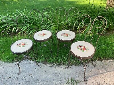 Set of 4 Antique Twisted Iron Ice Cream Parlor Chairs Needlepoint Seat