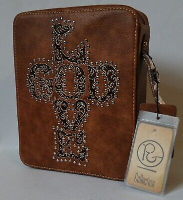 """P&G Collection """" LOVE GOD """" Bible Cover Zippered Handle PU Leather ~ NEW"""