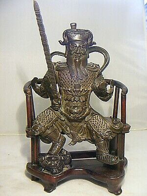 Antique Chinese  Bronze  Figure Guan Gong Warrior With Wooden Seat 16Th Cent