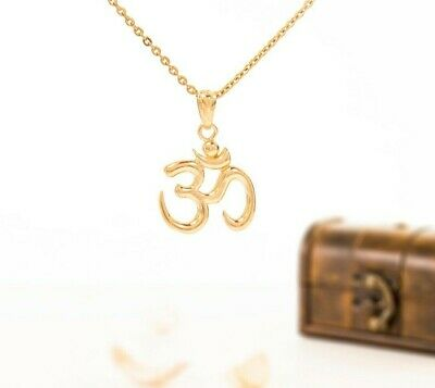 Ohm solid gold pendant, 14KT solid yellow gold, religious necklace, gold pendant
