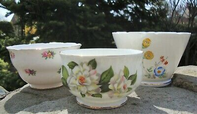 3 x Vintage Bone China Sugar Bowls - Adderley Royal Stafford Paragon - Tea Time