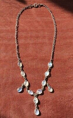 Antique Sterling Silver 925 Moonstone Drop Pendant Necklace Victorian Edwardian