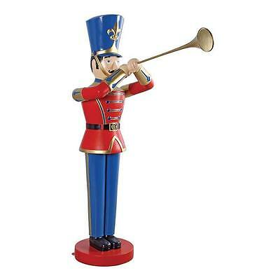 Christmas Large Magnificent Trumpeting Soldier Holiday  Hand Painted Statue