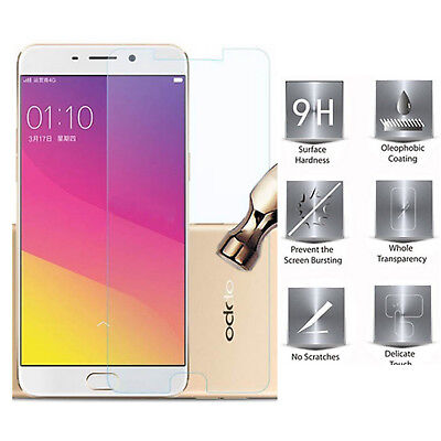 5PC× For Oppo R9S Plus Genuine Tempered Glass LCD Screen Protector Clear Film