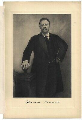 Pg from 1907 Presidential Portraits Folio Edition Theodore Roosevelt & Bio Page