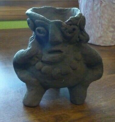Antique Pre Columbian Clay Tripod/3 Legged Figure -  Ceremonial Vessel