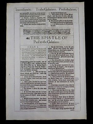 1611 King James Bible Leaf Page * Book Of Galatians Title Page * Near Fine *