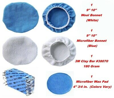 "9"" 10"" Bonnet Buffing Clay Bar 38070 Waxing Wool Microfiber Polishing  Pad Cover"