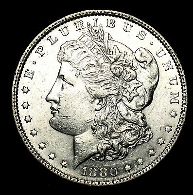 1880 P ~**ABOUT UNCIRCULATED AU**~ Silver Morgan Dollar Rare US Old Coin! #J71
