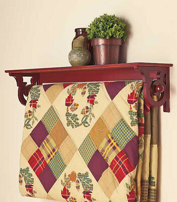 Deluxe Quilt Rack with Shelf Color Walnut