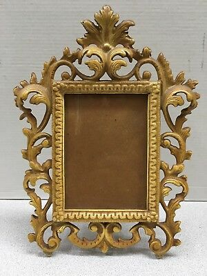 Antique Wilton Cast Iron Heavy Gold Color Standing Picture Frame 11""
