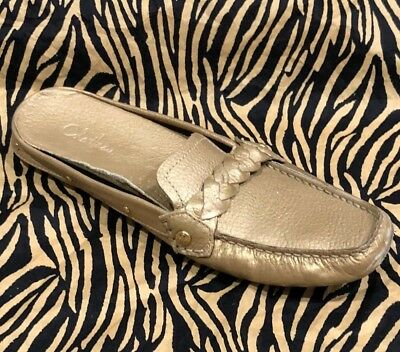 Cole Haan Gold Leather Slip On Braided Driving Loafers Mules Moc Toe Studs  8
