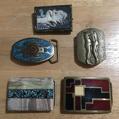 Impressive Lot Of 5 Vintage Belt Buckles - Incolay, BTS, Solid Brass, And More!