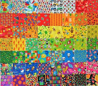 "50 Novelty Cotton Quilt Patchwork Fabric 5""  Squares I SPY MULTI-COLOURED"