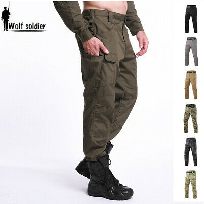 Mens Outdoor Military Cargo Pants Tactical Combat Casual Trousers Camouflage