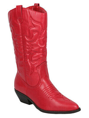 Soda Women Cowgirl Cowboy Western Stitched Boots Pointy Toe Knee High Red RENO