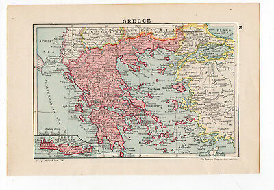 Antik Map Of Griechenland George Philip & Sons C1900