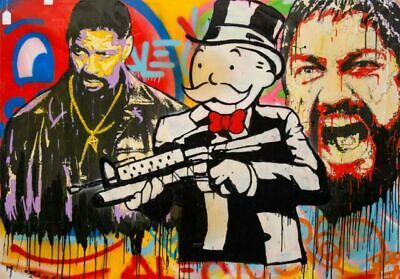 Alec Monopoly Graffiti Handcraft Oil Painting on Canvas, Denzel Monopoly 36""