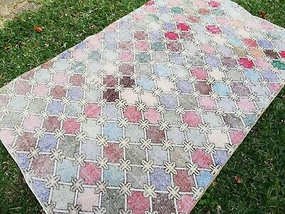 Worn vintage/antique Turkish diamond-patterned rug from Cadry's; FREE POST