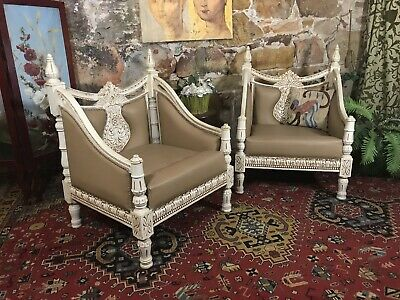 Vintage Pair Chesterfield ArmChairs~Chair~French Style~Antique White~Timber