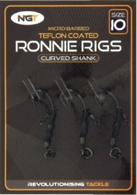 NGT Ronnie Rigs Spinner Rig Micro Barbed Teflon Curved Carp Hooks with Swivel