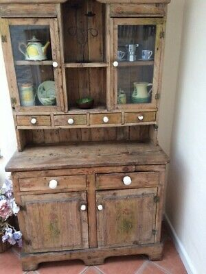 Antique pine dresser with spice drawers and glass cabinet
