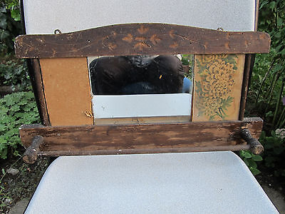 ANTIQUE PRIMITIVE OLD HAND CARVED WOODEN WALL HANGING MIRROR TOWEL HOLDER 19th