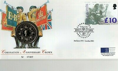 40th anniversary of the queen's coronation coin cover 1993, £5 coin, £10 stamp