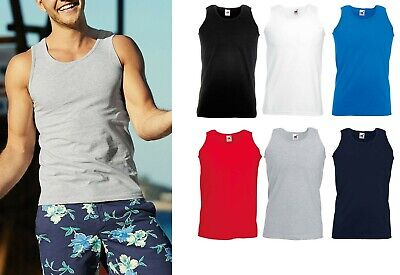 5 Pack Fruit Of The Loom Mens Plain Vests Athletic Tank Top Gym Sports T Shirt