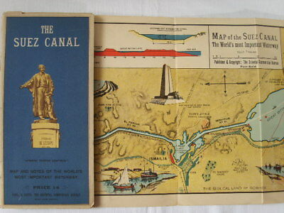 Antique SUEZ CANAL Colour MAP Notes 1930s Folding Poster Port Said Egypt Vintage