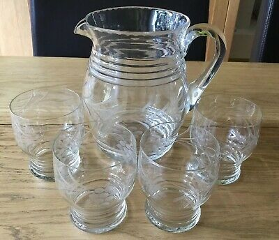 Quality, Vintage Etched Design Glass Water Jug / Pitcher And 4 Matching Glasses