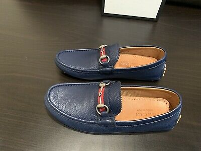 d52983df9 GUCCI Blue Leather Driver/Loafer With Web And Horsebit Detail - Size UK6/US7