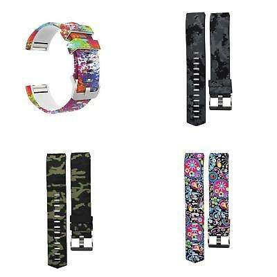 UK_ AU_ Sports Camouflage Silicone Wrist Band Strap Bracelet for Fitbit Charge 2