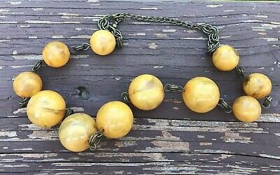 Vintage Necklace Mustard Colored Beads Metal Chain Arts & Crafts Mission Era