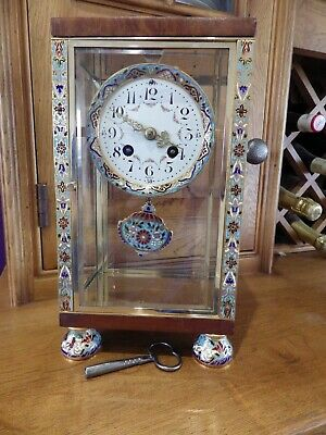French Crystal Regulator Mantle Clock With Enamel Work Very Rare case Style 1890