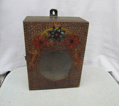 Antique Primitive Old Wooden Wall Hanging Clock Box Case Wall