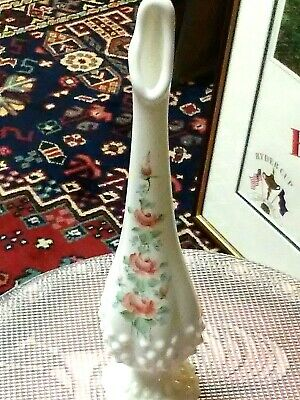 "Vintage FENTON Hobnail White Milk Glass Swung Vase 10.5"" Hand Painted & Signed!"