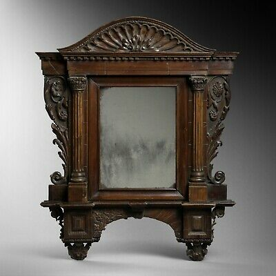 Antique great quality neo-classical carved mirror architectural ruins type frame