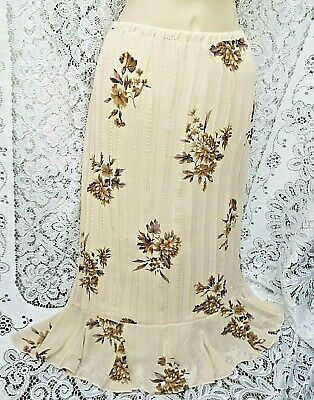 M&S Wonderful Cream Multi Mix Art Floral Crinkle Pleat Flippy Hem Skirt 16/18