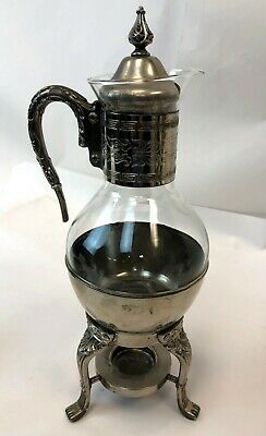 VTG Silver Silverplate Corning Glass Floral Coffee Tea Urn Carafe w Warmer Stand