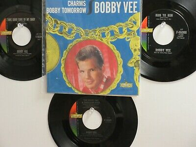 LOT OF 4 ' BOBBY VEE ' HIT 45's+1PS [CHARMS]  THE 60's !