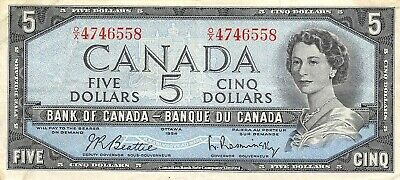Canada   $5  1954  Series  O/X  Que. II  Circulated Banknote Can10