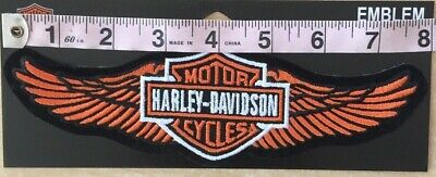 "HARLEY DAVIDSON Orange Straight Wing B&S Large Patch 8""  Sturgis Biker Vest H-D"