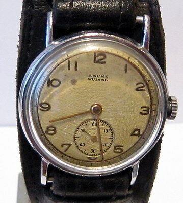 "Art Deco Vintage Rare Ww2 Era Sub Second Men's Swiss Watch ""Ancre Suisse"" # 79B"